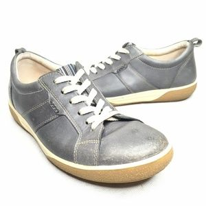 Ecco Blue Leather Sneaker Style Casual Comfortable